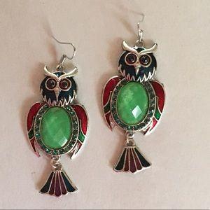 Vintage cloisonné jade owl earrings